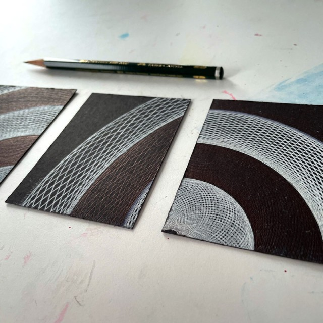 """""""Orbits"""" set of 4 drawings by Mary Wagner"""