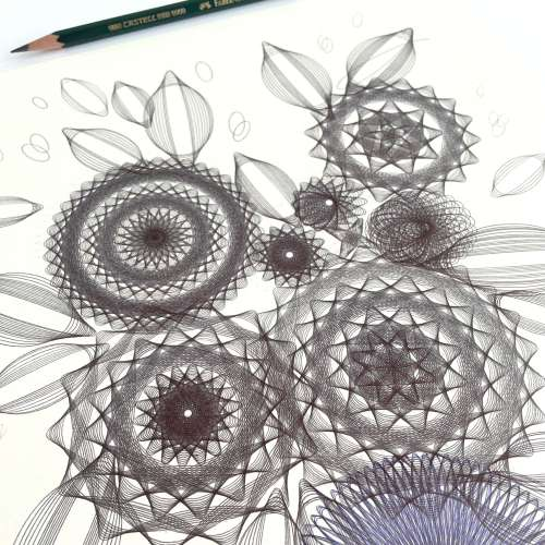 """""""Black Flowers"""" ink on paper, 14x11 inches. Copyright Mary Wagner. All Rights Reserved. MaryWagner.com"""