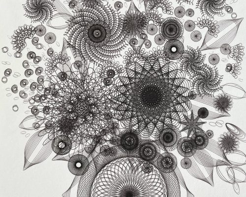 """Detail of """"Bouquet In Black"""" ink on paper. Copyright Mary Wagner. All Rights Reserved. MaryWagner.com"""